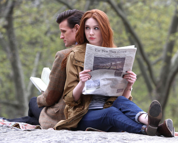 Amy and The Doctor read in Central Park