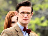 Matt Smith and Karen Gillan filming Doctor Who in Central Park, New York.