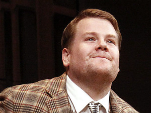James Corden curtain call of Broadway opening night of One Man, Two Guvnors at the Music Box Theatre.