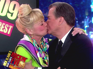 Dick Clark receives a kiss on the 'New Year's Rockin' Eve' show, 2008