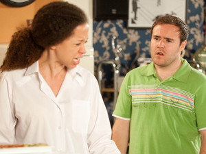 Tyrone tries to make things up with Kirsty and informs her that he has got her a job packing at the factory through Carla. Kirsty is furious and insists that policing was her life