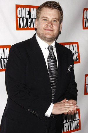 James Corden celebrates Broadway opening night at after party for One Man, Two Guvnors, held at the Liberty Theatre.