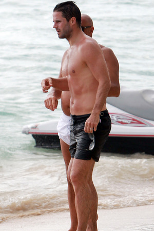 Jamie Redknapp enjoys time on the beach in Barbados while on holiday with his family