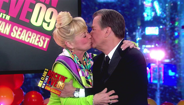 Dick Clark receives a kiss