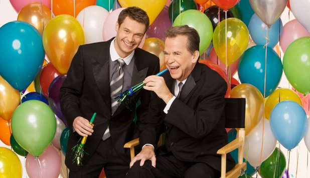 Dick Clark with Ryan Seacrest at the 'New Years Rockin' Eve' show in 2006