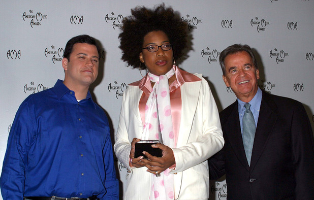 Dick Clark alongside Macy Gray and Jimmy Kimmel at the 31st Annual American Music Awards nominations in 2003