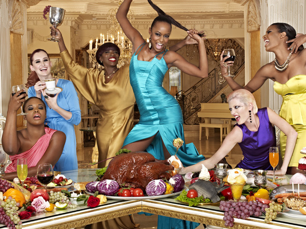 America's Next Top Model Episode 7 - Seymone, Catherine, Estelle, Annaliese (on table), Sophie and Eboni