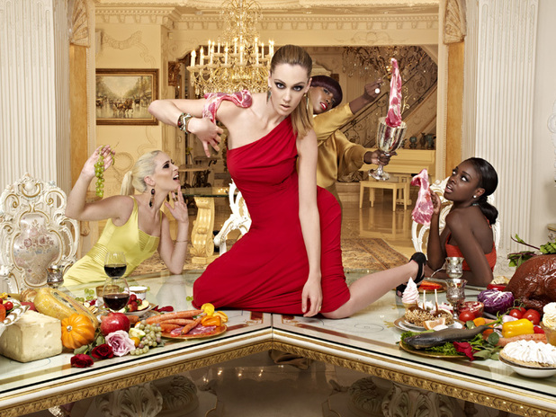 America's Next Top Model Episode 7 - Annaliese, Seymone, Eboni (on table), Estelle, Sophie and Catherine