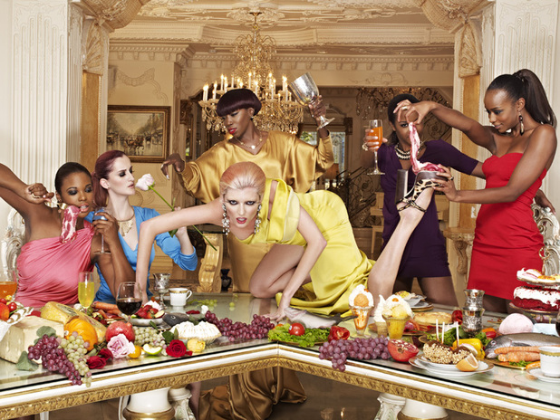 America's Next Top Model Episode 7 - Seymone, Catherine, Estelle, Sophie (on table), Eboni and Annaliese