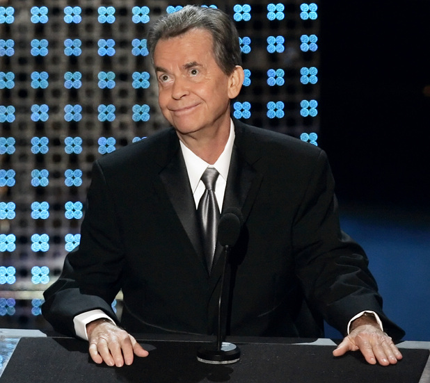 Dick Clark speaks after receiving a special Emmy tribute at the 58th Annual Primetime Emmy Awards in 2006