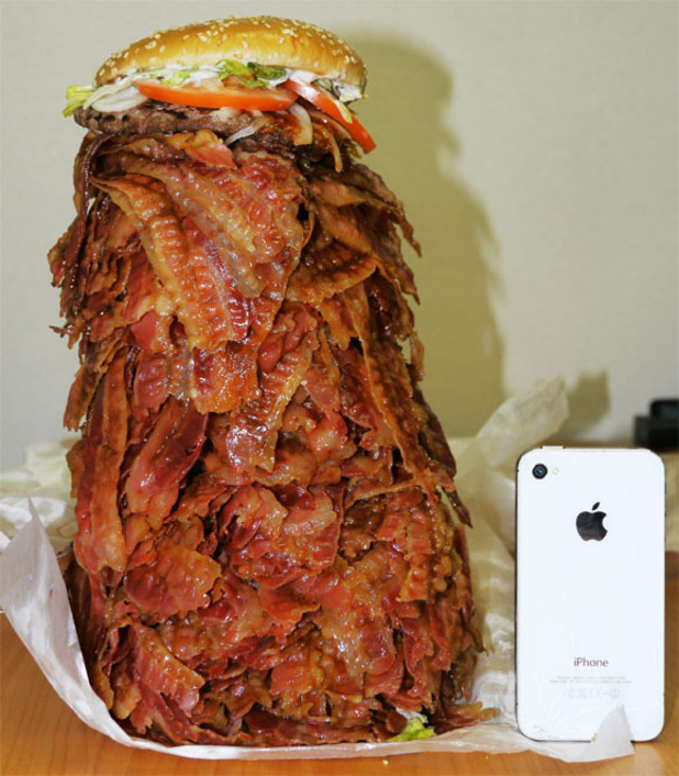 Man orders 2.7kg burger with 1,050 bacon strips - picture