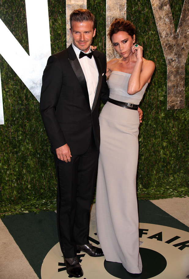 David Beckham and Victoria Beckham 2012 Vanity Fair Oscar Party at Sunset Tower Hotel - Arrivals West Hollywood, California