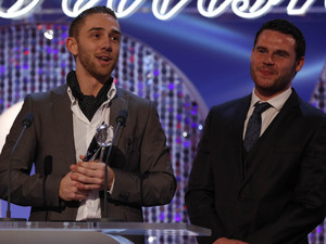 British Soap Awards 2012: Danny Miller and Marc Silcock accept the award for Best Storyline.