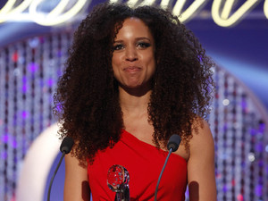 British Soap Awards 2012: Natalie Gumede with her award for Best Newcomer.