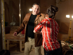 Terry finds Tina at the bar and realises she is trying to interfere with his plan