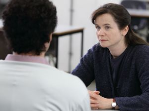 Emily Watson as Janet Leach and Dominic West as Fred West in 'Appropriate Adult'