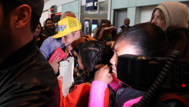 Justin Bieber arrives at London's Heather Airport