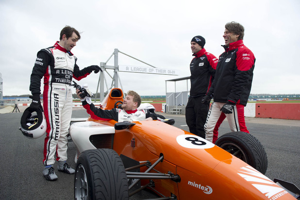 Jimmy Carr, James Corden and John Bishop in 'A League of Their Own' F1 special