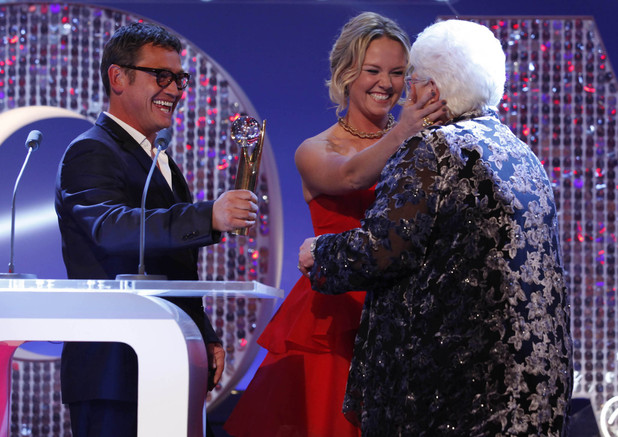 British Soap Awards 2012: Sid Owen and Charlie Brooks present Pam St Clement with her award.