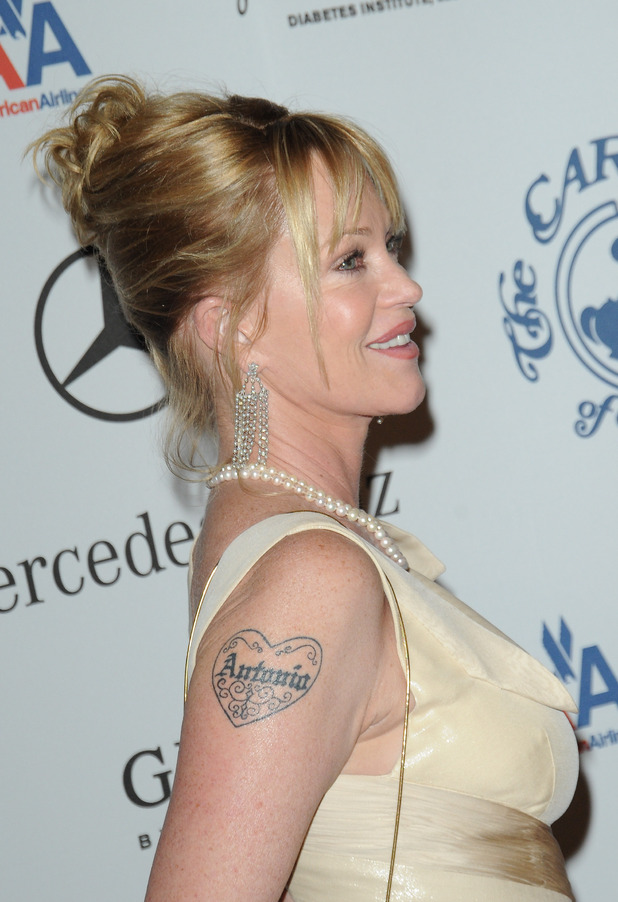 Melanie griffith celebrity tattoos for loved ones for Melanie griffith tattoo