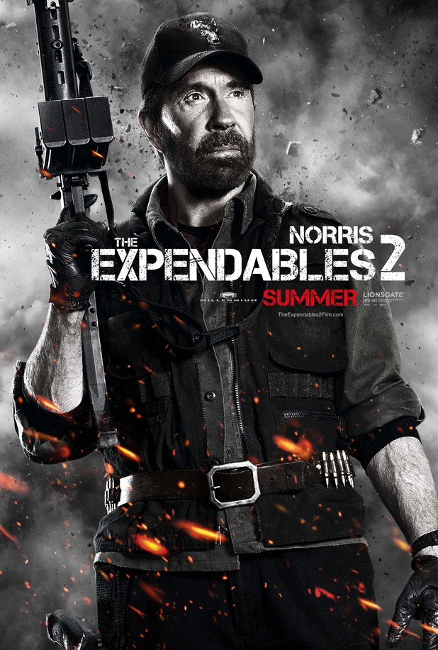 Chuck Norris Expendables 2 character poster