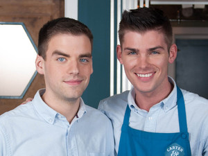 Hollyoaks behind the scenes shots of Ste and Doug in their new deli