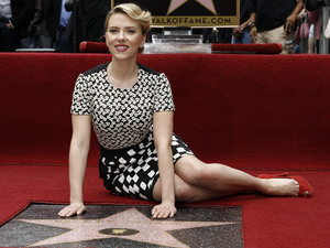 Scarlett Johansson with her Walk of Fame star - May 2, 2012