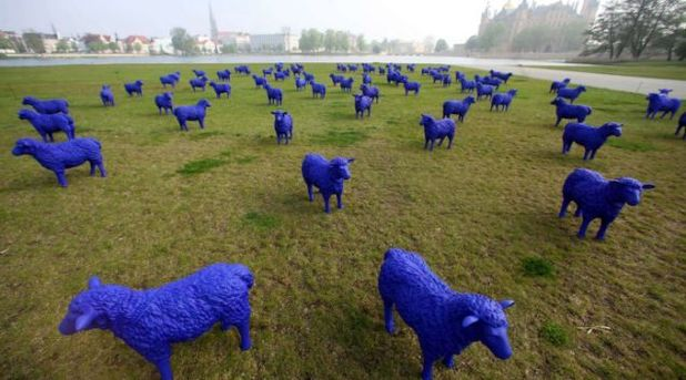 Blue sheep outside Schwerin Castle, Germany
