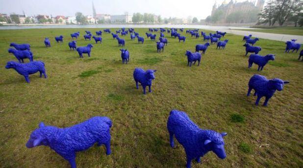 Blue sheep outside Schwerin Castle, Germany