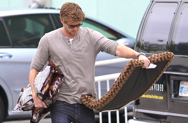 Liam Hemsworth picks up some supplies at a pet store