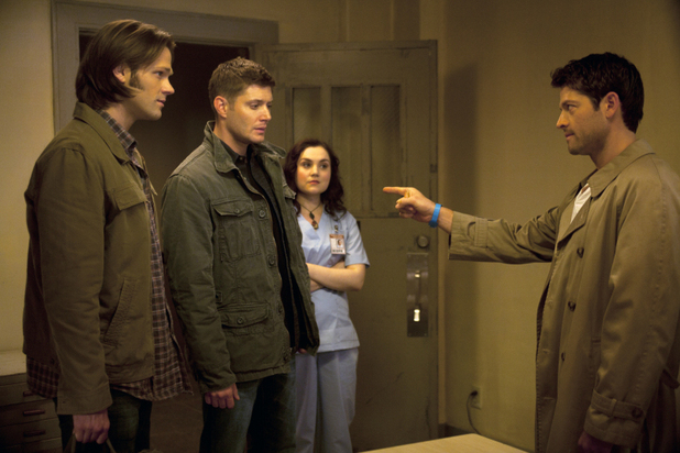 Sam, Dean, Meg and Castiel