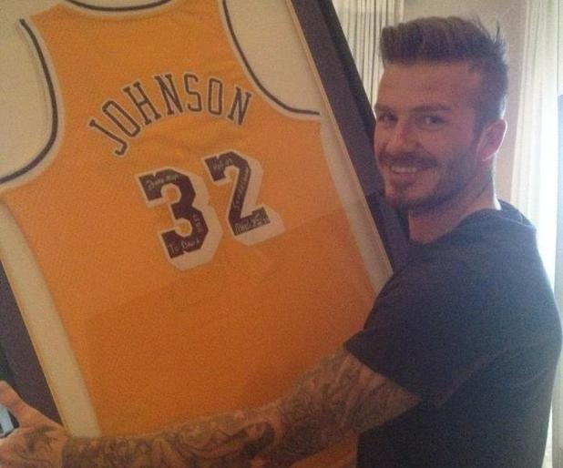 David Beckham gets LA Lakers' Magic Johnson memorabilia for birthday