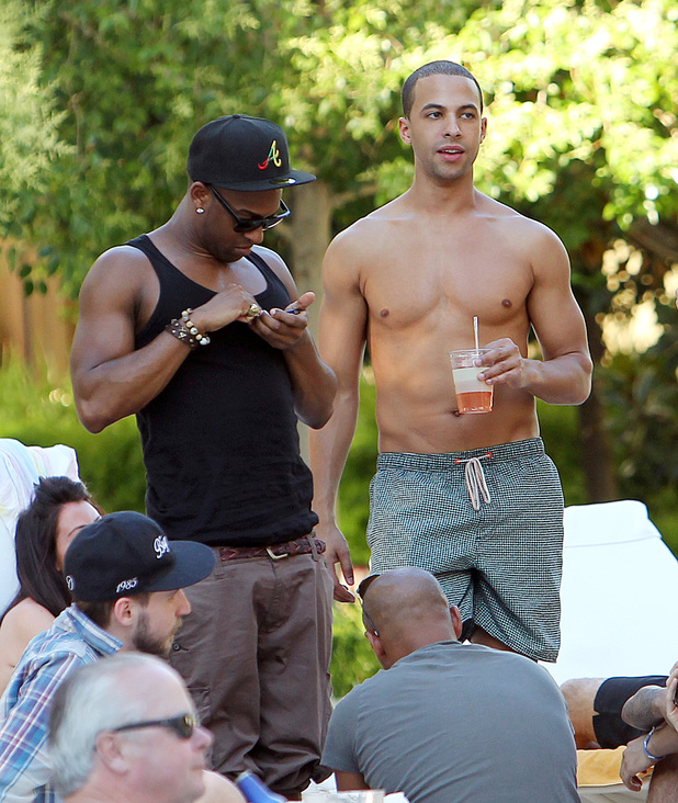 Oritse Williams and Marvin Humes of JLS The JLS boys hang out at the pool at the Encore, in Las Vegas, Nevada, on the first leg of band member Marvin Humes' bachelor party. Las Vegas, Nevada