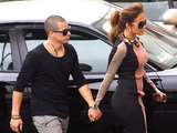 Jennifer Lopez and Casper Smart arrive at Boulevard3 to announce her upcoming tour Los Angeles, California