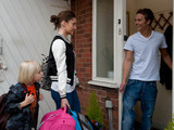 David is delighted when Kylie and Max turn up at the front door. He apologises for turning on her