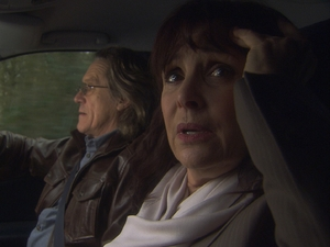 Julia (Diane Keen) and Martin (Miles Anderson) bicker in the car