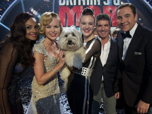 Britain&#39;s Got Talent Final: Alesha Dixon, Amanda Holden, winners Ashleigh and Pudsey, Simon Cowell and David Walliams.