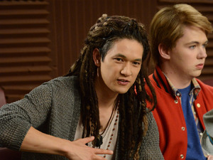 "GLEE: Tina bumps her head and sees Mike (Harry Shum Jr., L) as Joe and Rory (Damian McGinty, R) as Sam in the first hour of a special two-hour ""Props/Nationals"" episode of GLEE airing Tuesday, May 15 (8:00-10:00 PM ET/PT) on FOX."