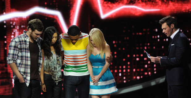 AMERICAN IDOL: L-R: Phillip Phillips, Jessica Sanchez, Josh Ledet and Hollie Cavanagh wait to hear how America voted on AMERICAN IDOL airing Thursday, May 10 (8:00-9:00 PM ET/PT) on FOX. Also pictured: Ryan Seacrest.