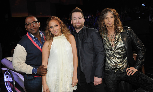 L-R: Randy Jackson, Jennifer Lopez, David Cook and Steven Tyler on AMERICAN IDOL airing Thursday, May 10 (8:00-9:00 PM ET/PT) on FOX. CR: Frank Micelotta / FOX.