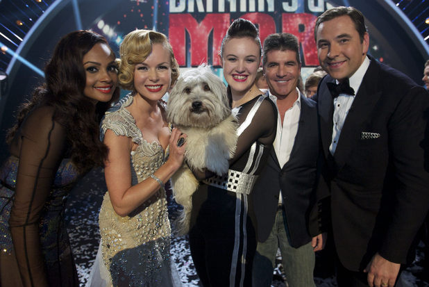 Britain's Got Talent Final: Alesha Dixon, Amanda Holden, winners Ashleigh and Pudsey, Simon Cowell and David Walliams.