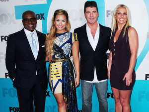 Antonio LA Reid, Demi LOvato, Simon Cowell and Britney Spears 2012 Fox  Upfront Presentation held at the Wollman Rink - Arrivals New York City