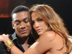 Jennifer Lopez hugs Joshua Ledet after his &#39;American Idol&#39; semi-final elimination. Also pictured: Randy Jackson.