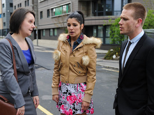 As they stand outside the courthouse, Alicia admits to her solicitor and David that she already has a prior conviction for assaulting one of her mum's carers