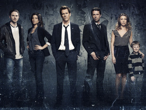 The Following's cast: Shawn Ashmore, Jeannane Goossen, Kevin Bacon, James Purefoy, Natalie Zea and Kyle Cattlet.