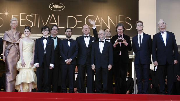 Tilda Swinton, Kara Hayward, Jared Gilman, screenwriter Roman Coppola, actors Jason Schwartzman, Bruce Willis, Bob Balaban, composer Alexandre Desplat, director Wes Anderson, actors Edward Norton and Bill Murra arrive for the opening ceremony and screening of 'Moonrise Kingdom' at the 65th international film festival, in Cannes