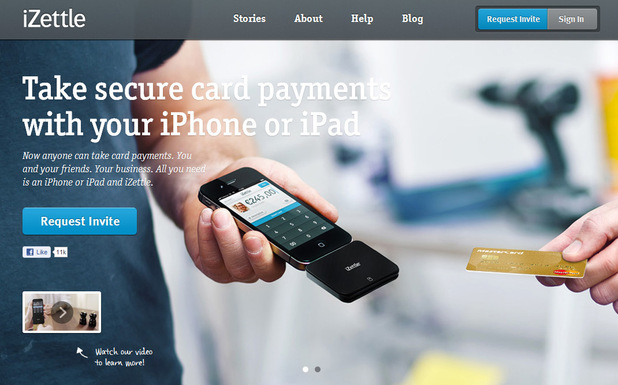 iZettle mobile payment website screenshot