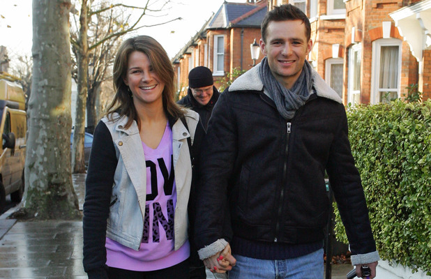 Harry Judd and girlfriend Izzy Johnston leaving Fearne Cotton's house after her Christmas Party London