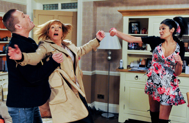 Alicia Gallagher (Natalie Anderson) hits Val Pollard (Charlie Hardwick)