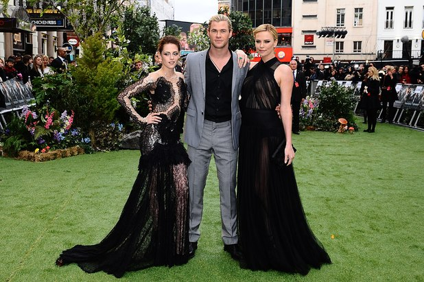 Kristen Stewart, Chris Hemsworth and Charlize Theron arriving for the UK premiere of Snow White And The Huntsman at the Empire and Odeon Cinemas in Leicester Square, London